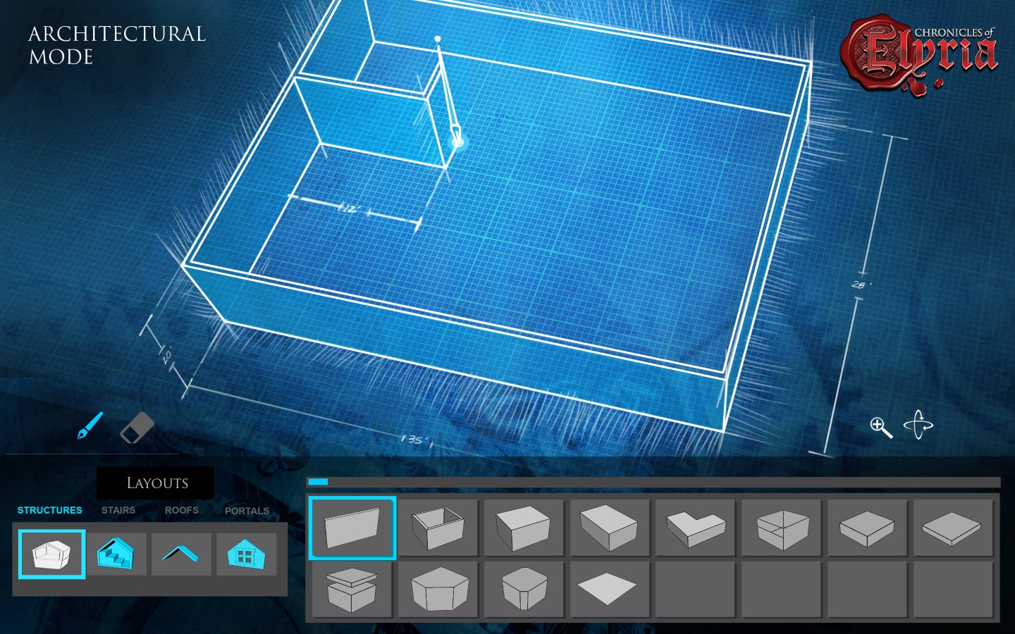In-game screenshot showing the blueprint architectural tool