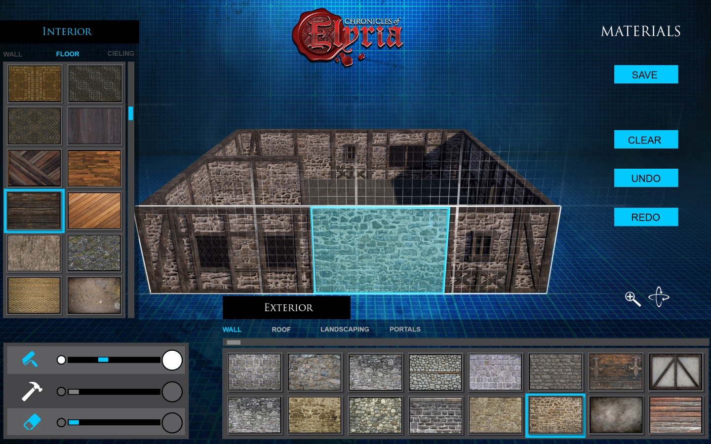 In-game screenshot showing the material architectural tool