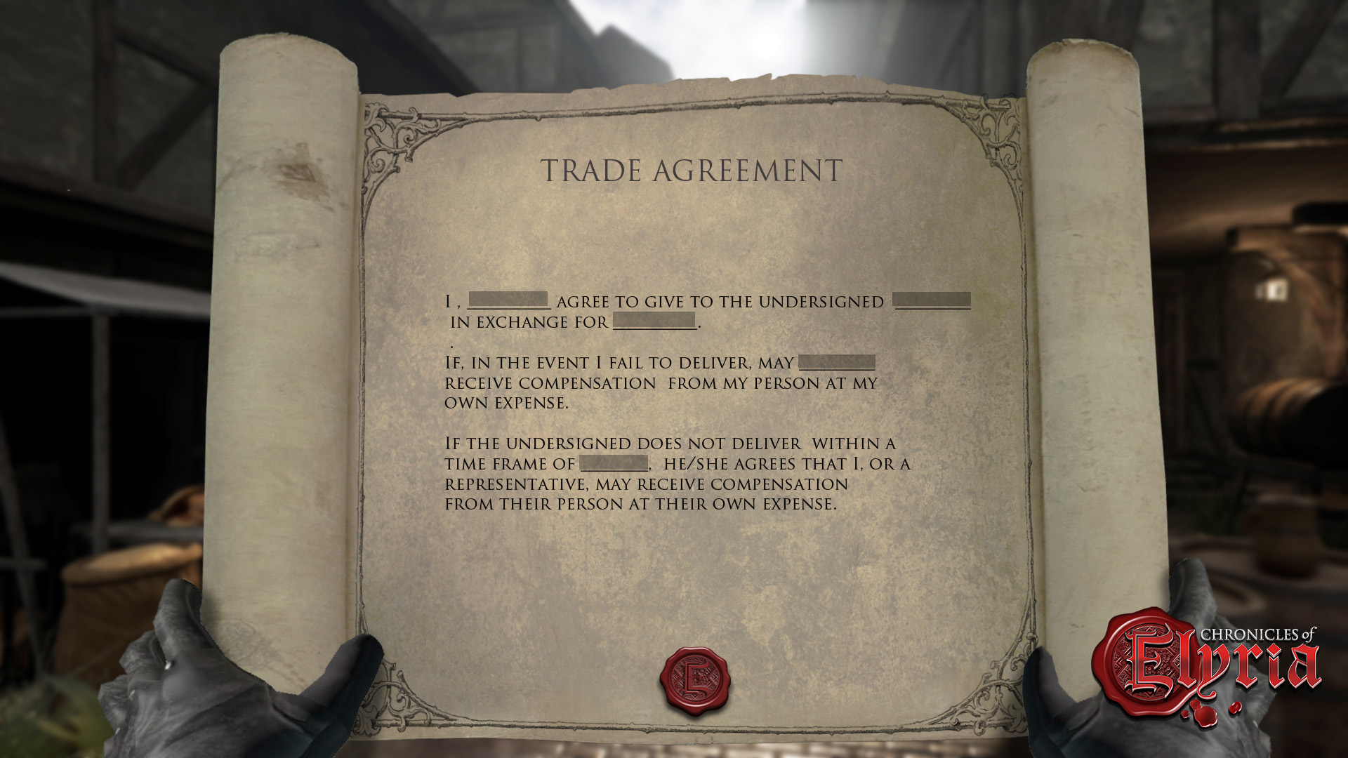 Early In-game view of a Trade Contract