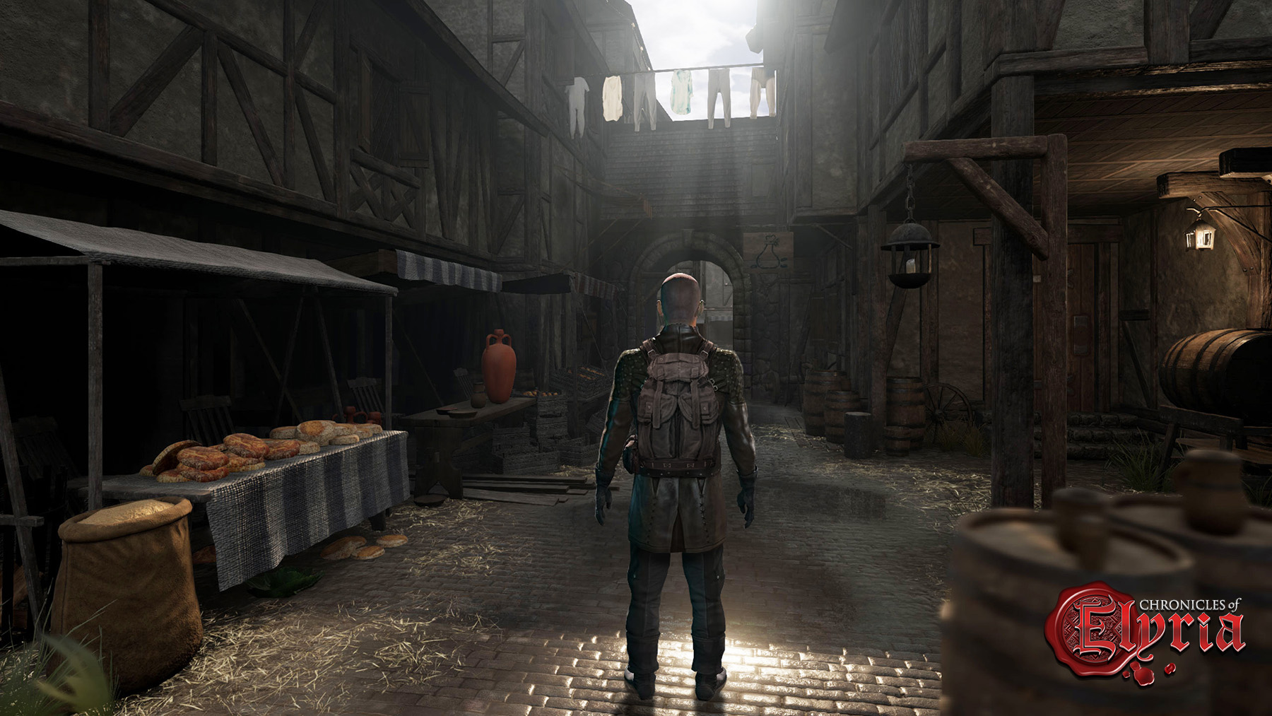 In-game view of a character with their backpack on