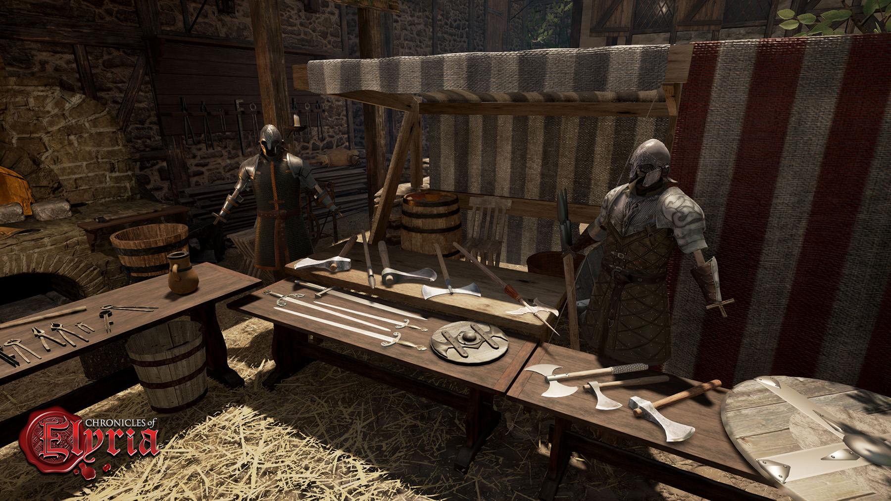 In-game view of a blacksmith stall in the town market