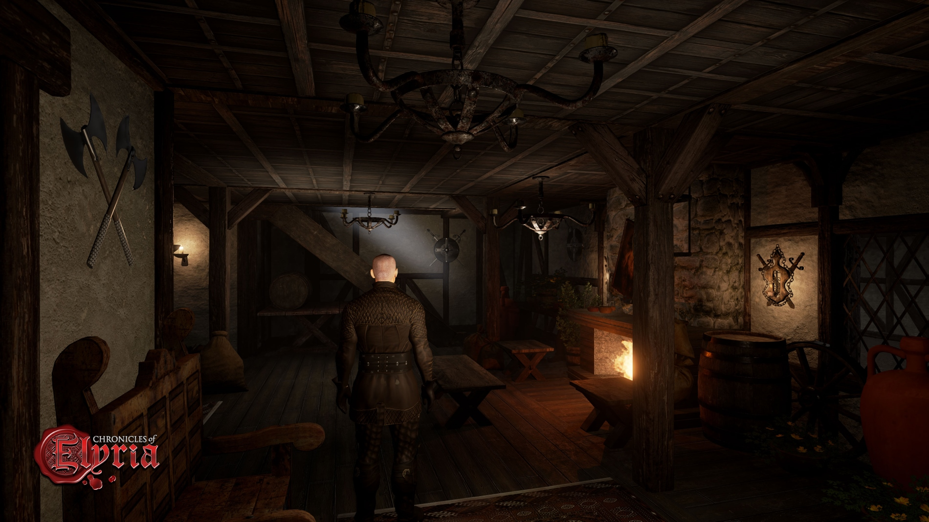 In-game screenshot of a common-room in an inn