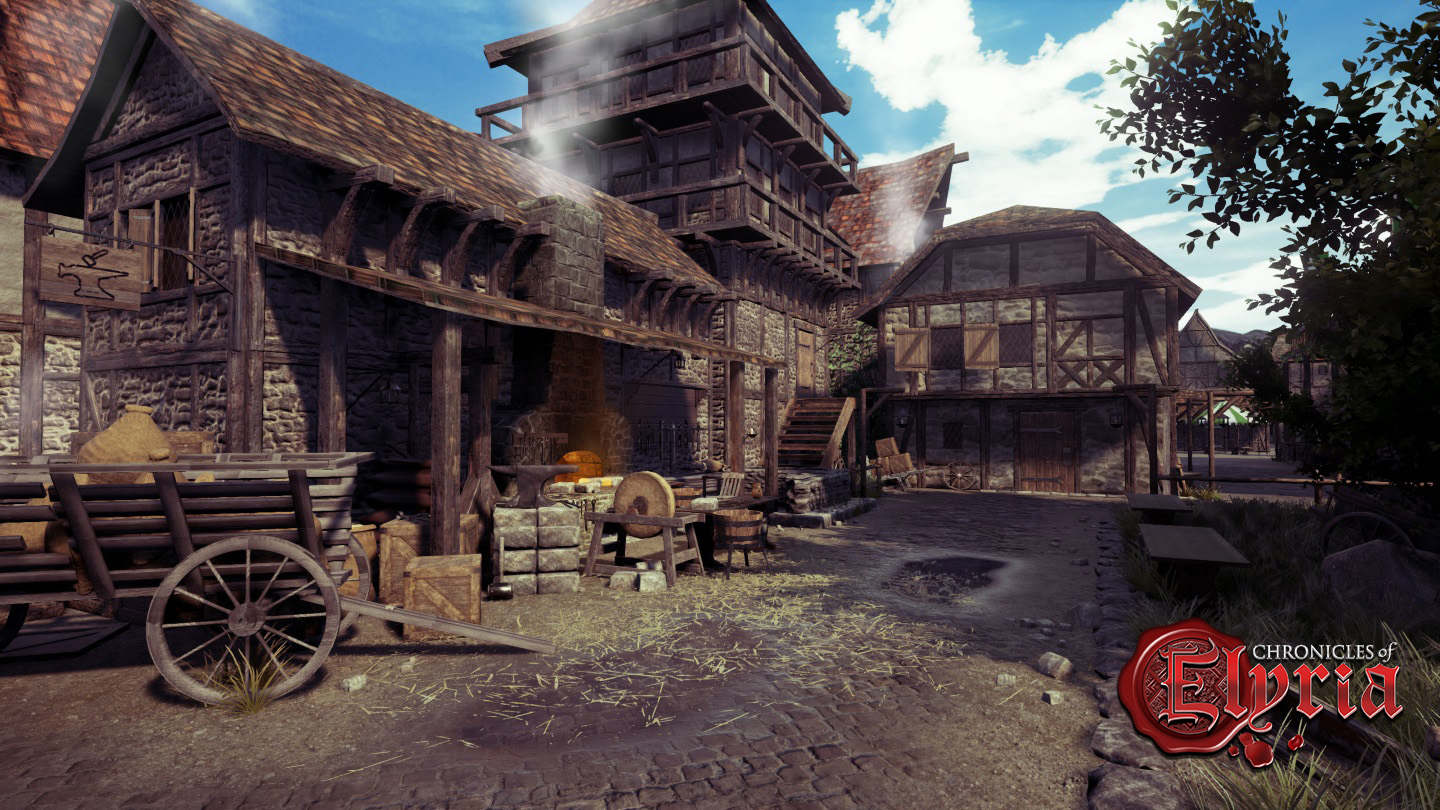 In-game view of a forge and blacksmithing station