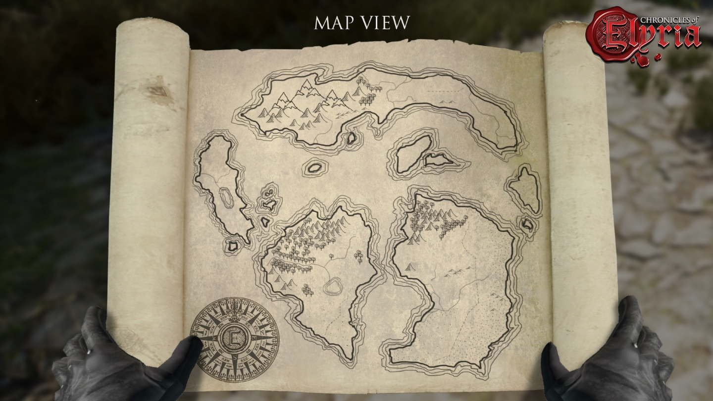 Early in-game shot of a player-drawn world map