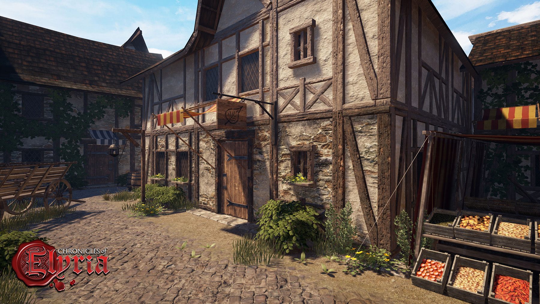 Screenshot showing completed inn exterior