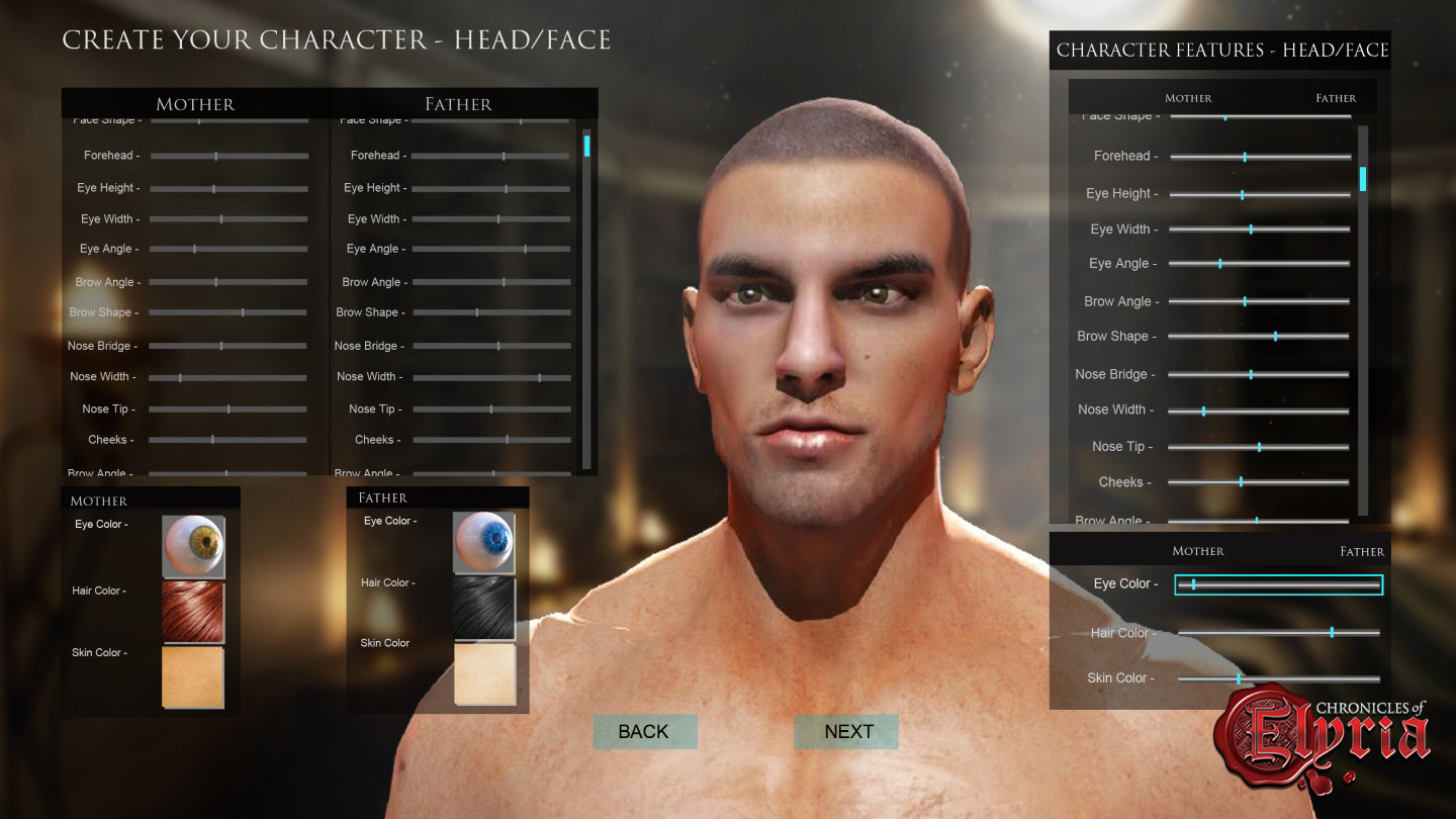 In-game view of facial customization