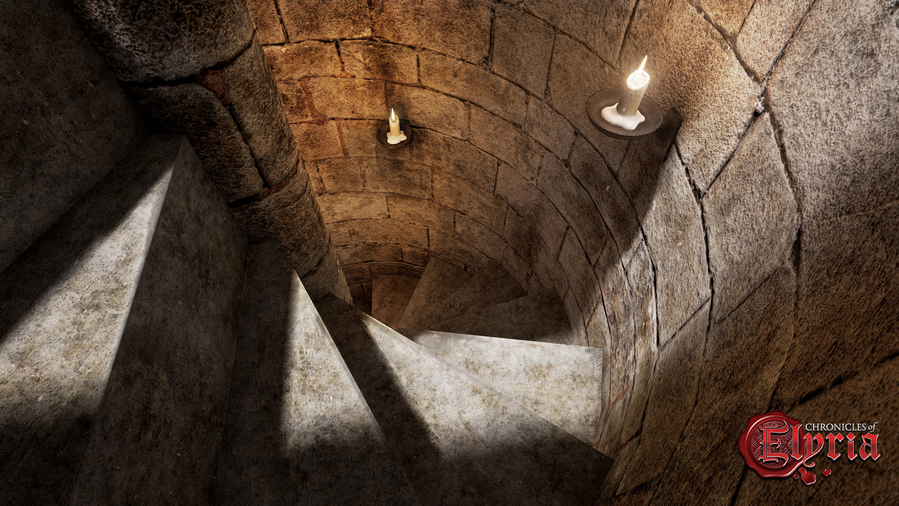 In-game screenshot of a straircase leading into a basement