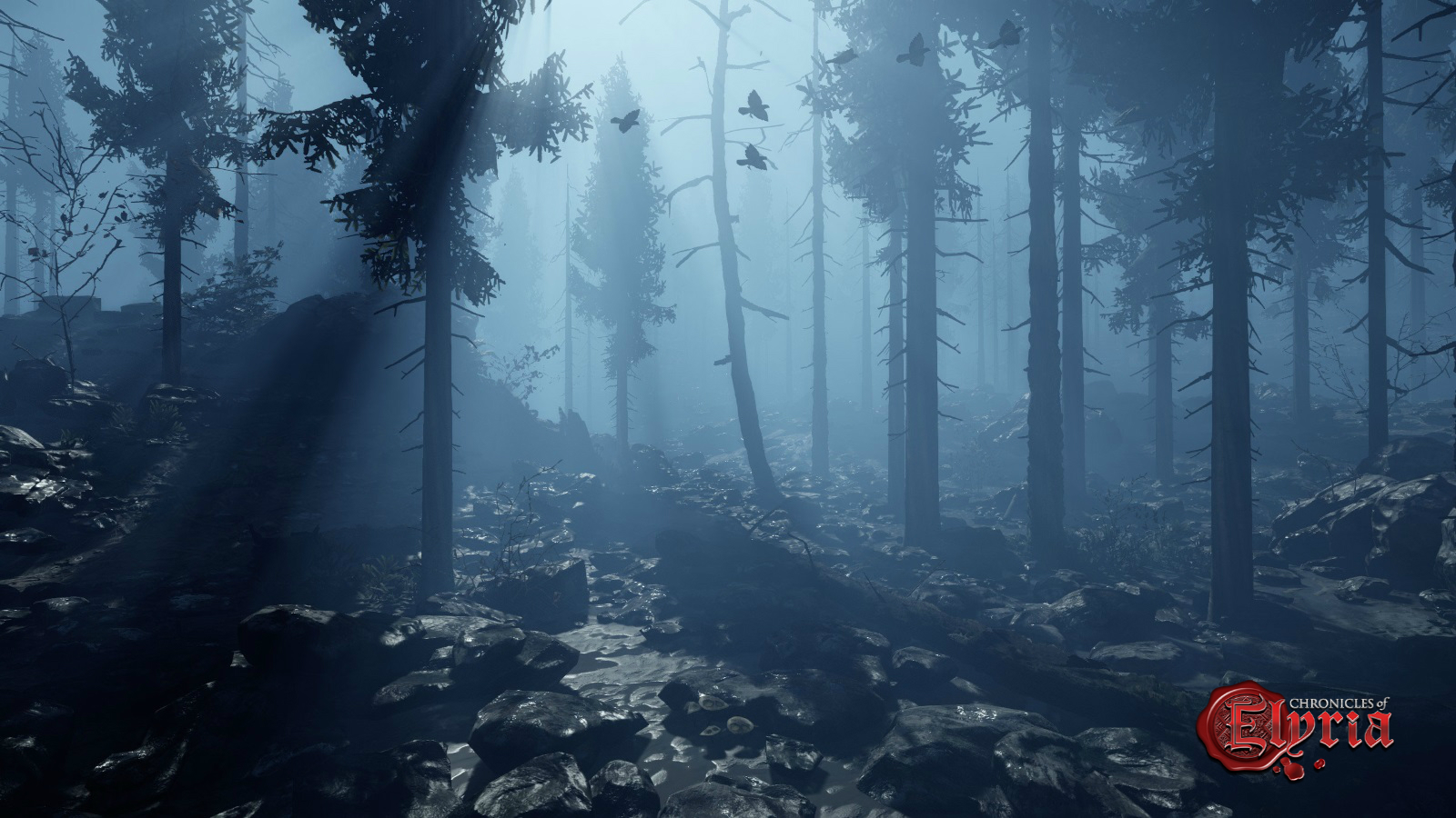 In-game view of one of Elyria's darker forests