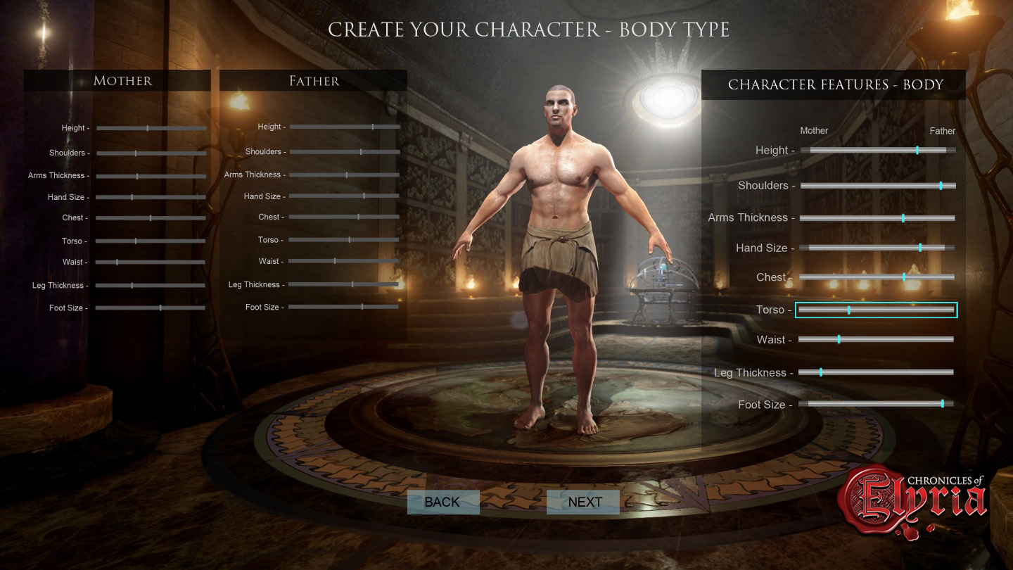 In-game view of body customization