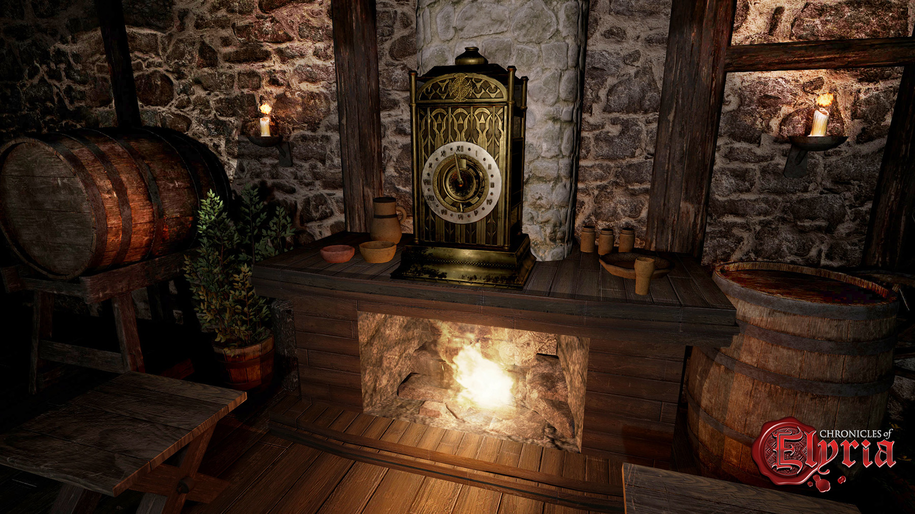 In-game render of a clock in Chronicles of Elyria
