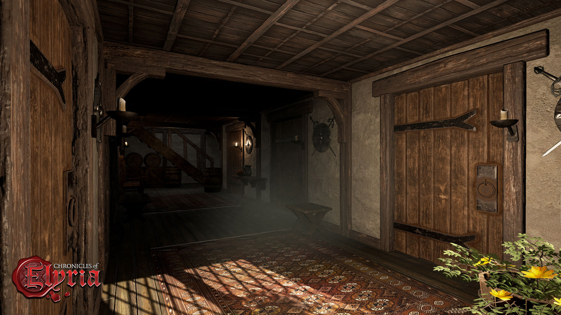 In-game screenshot of the interior entryway of an inn