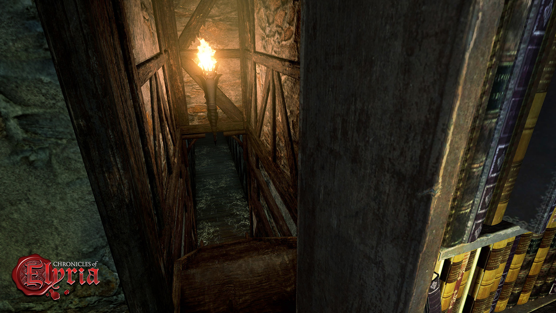 In-game screenshot of a hidden staircase